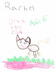 Ashley, age 6, draws a cat for Danny the Dragon.